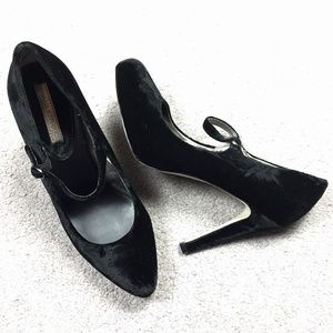 Black Velvet Mary Jane Stiletto Heels Pin-up Goth